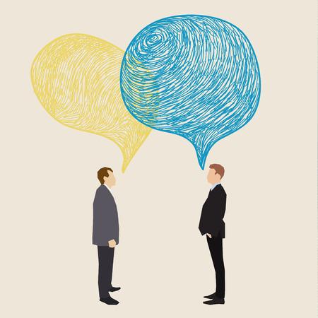inteligible: Concepto de comunicación. Dos hombres con globos de texto dibujado a mano. Diseño plano, ilustración vectorial Vectores