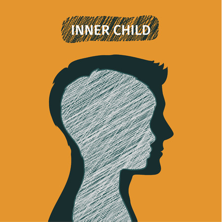 inside of: Concept of inner child. Silhouette of a man showing his inner child living in his mind. Flat design, vector illustration.