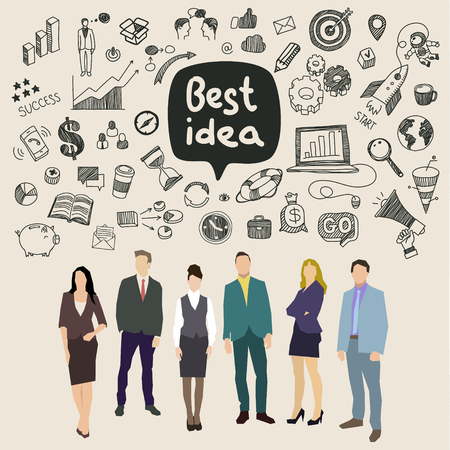 business communication: Concept of idea. Business social networking and communication. Flat design, vector illustration