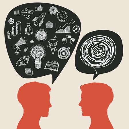 inteligible: Concepto de comunicación con garabatos de negocios en el bocadillo. Diseño plano, ilustración vectorial