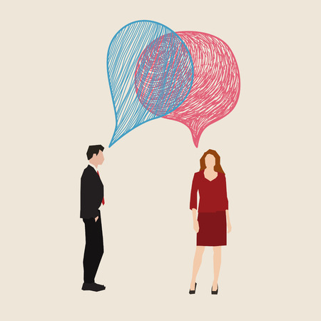 decoding: Communication concept. Woman and man with hand drawn speech bubbles. Flat design, vector illustration