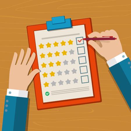 Customer feedback concept. Hand controleren uitstekende merk in een enquête. Platte ontwerp vector illustratie