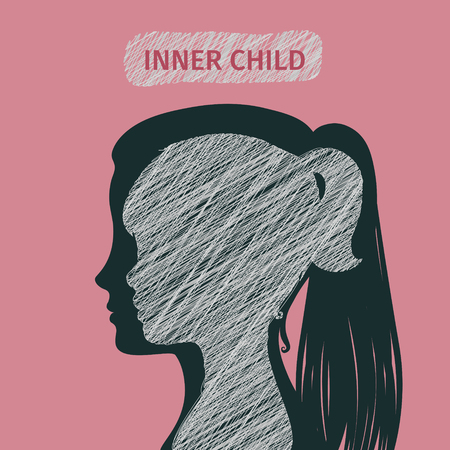 silueta niño: Concepto de niño interior. Silueta de una mujer que muestra su niño interior que vive en su mente. Diseño plano, ilustración vectorial.