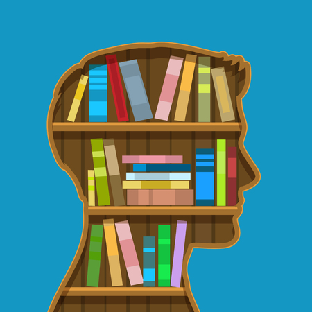 academia: Concept of education. Book shelf in form of head. Flat design, vector illustration