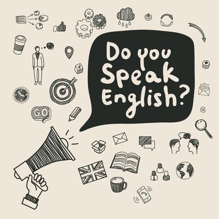 Koncepcji uczenia się języka angielskiego. Płaska konstrukcja, ilustracji wektorowych