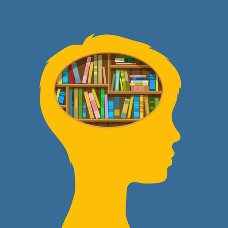 old people reading: Concept of education. Book shelf in form of head. Flat design, vector illustration