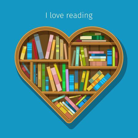 dilapidated: Concept of education. Book shelf in form of heart. Flat design, vector illustration Illustration