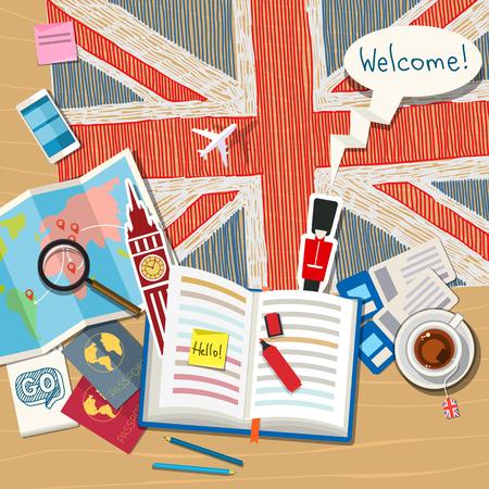 bandiera inglese: Concetto di viaggio o di studiare l'inglese. Libro aperto con i simboli in inglese. Design piatto, illustrazione vettoriale
