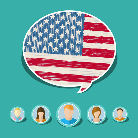 Concept of travel or studying English. Speech bubble with hand drawn American flag. Flat design, vector illustration