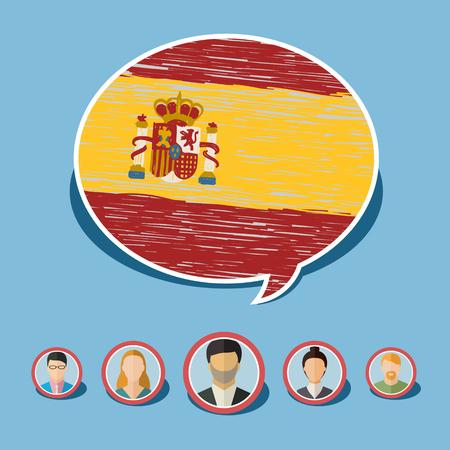 Concept van de reis of het bestuderen van het Spaans. Tekstballon met de hand getekende Spaanse vlag. Platte ontwerp, vector illustratie