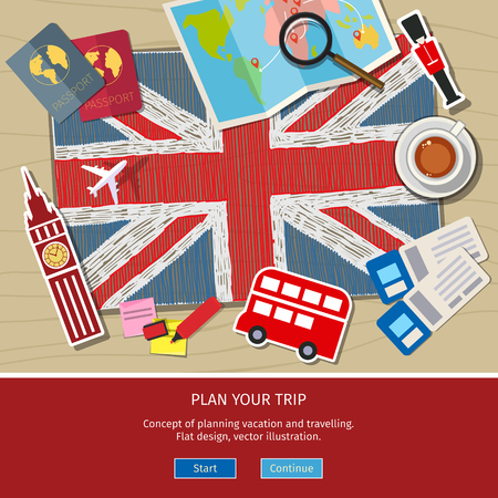 sightseeings: Concept of travel or studying English. Hand drawn English flag with Sightseeings. Flat design, vector illustration