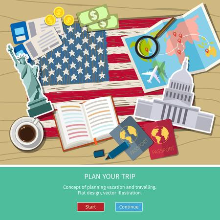 여행이나 영어를 공부의 개념입니다. 손 랜드 마크와 미국 국기를 그려. 평면 디자인, 벡터 일러스트 레이 션