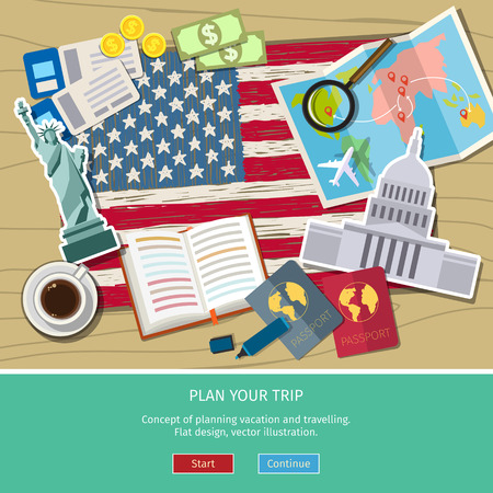 Concept of travel or studying English. Hand drawn American flag with landmarks. Flat design, vector illustration Stock Illustratie
