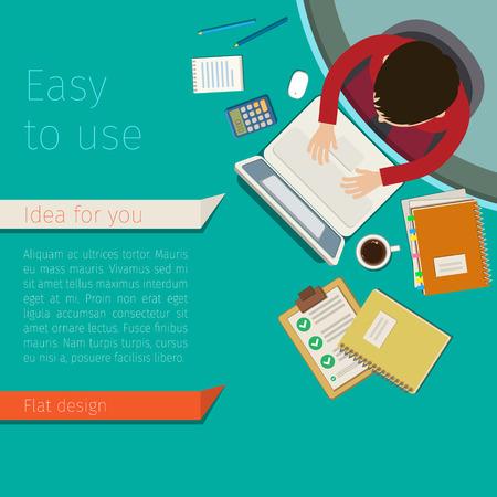 Concept of work place. A man working at light green desk. Flat design, vector illustration