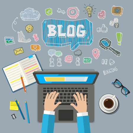 Writing an article for blog on computer. Flat illustration Illustration