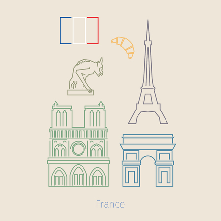 Concept of travel or studying French. French flag with landmarks. Flat design, vector illustration Illustration