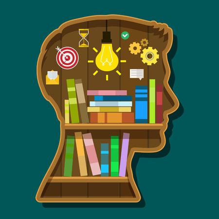 dilapidated: Book shelf in form of head. Flat design, vector illustration Illustration