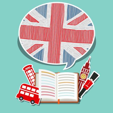 Concepto de viaje o estudiar Inglés. libro abierto con símbolos ingleses. Diseño plano, ilustración vectorial