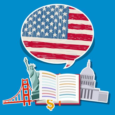 Concetto di viaggio o di studiare l'inglese. Libro aperto con disegnata a mano bandiera americana e simboli americani. Design piatto, illustrazione vettoriale Archivio Fotografico - 51792630