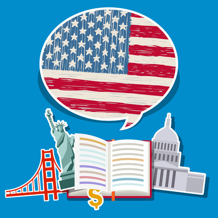Concept of travel or studying English. Open book with hand drawn American flag and American symbols. Flat design, vector illustration