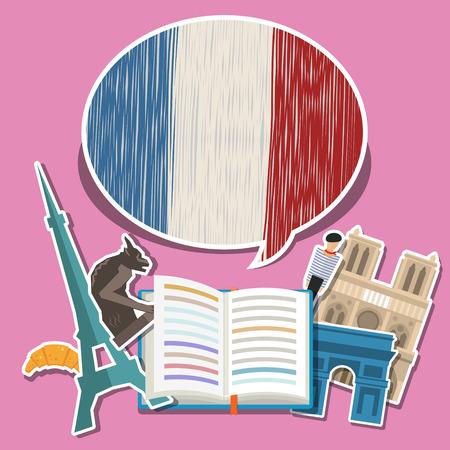 Concept van de reis of het bestuderen van het Frans. Open boek met de hand getekende Franse vlag en Franse symbolen. Platte ontwerp, vector illustratie