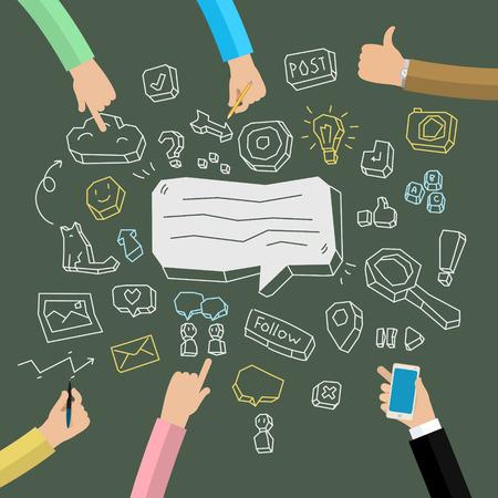 financial figures: Business doodles on a blackboard. Concept of social network activity. Vector illustration