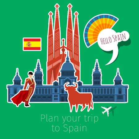 Concept of travel or studying Spanish . Spanish flag with landmarks. Flat design, vector illustration