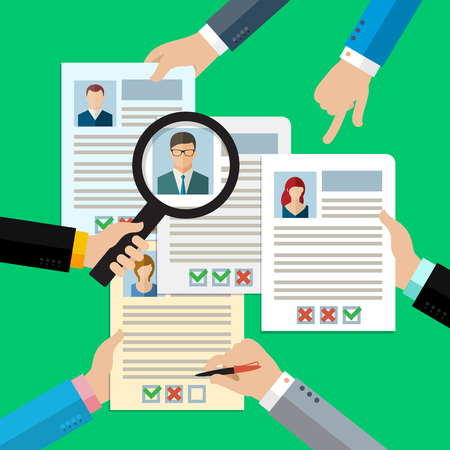 hr: Concept of searching professional staff, analyzing personnel resume, recruitment, human resources management, work of hr. Flat design, vector illustration.