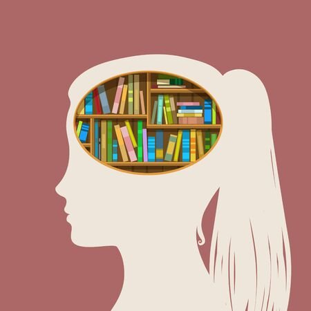 battered: Concept of education. Book shelf in form of head. Flat design, vector illustration