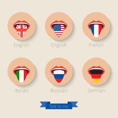 long tongue: Concept of learning languages or traveling. Open mouth with tongue hanging painted like a flag. Flat design, vector illustration