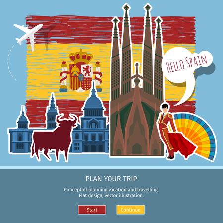 bullfighter: Concept of travel or studying Spanish . Hand drawn Spanish flag with landmarks. Flat design, vector illustration