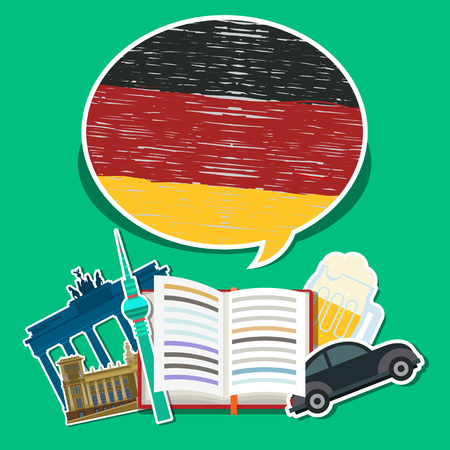Concept of travel or studying German. Open book with hand drawn German flag and German symbols. Flat design, vector illustration Иллюстрация