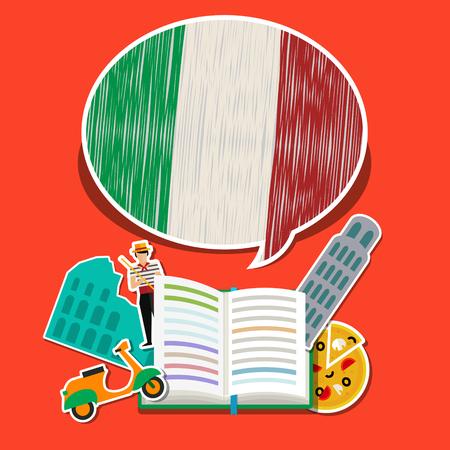 Concept of travel or studying Italian. Open book with hand drawn Italian flag and Italian symbols. Flat design, vector illustration Иллюстрация