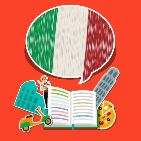 Concept of travel or studying Italian. Open book with hand drawn Italian flag and Italian symbols. Flat design, vector illustration Illustration