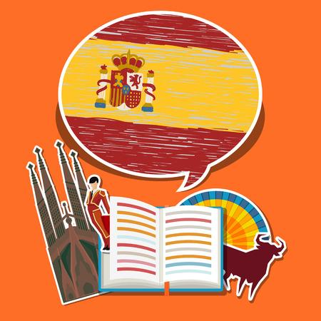여행 또는 스페인어 공부의 개념입니다. 손으로 펼친 책 스페인어 플래그와 스페인어 기호를 그려. 평면 디자인, 벡터 일러스트 레이 션