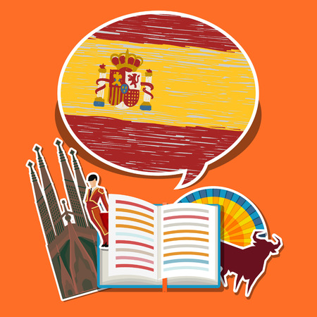 Concept of travel or studying Spanish. Open book with hand drawn Spanish flag and Spanish symbols. Flat design, vector illustration