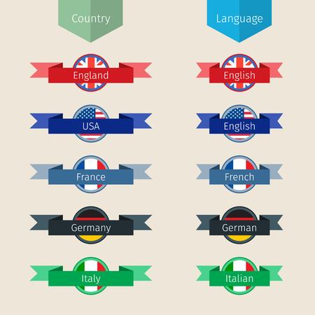 deutschland: Concept of translation. Language icons. Flat design, vector illustration Illustration