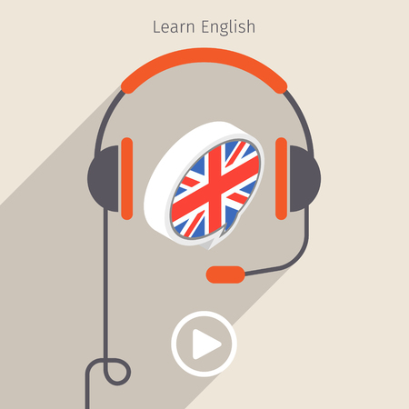 audio book: Concept of audio book or studying languages. Book with headphones, vector illustration, flat design Illustration