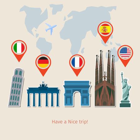 estudiar: Concepto de la planificación de vacaciones. Bandera colorida plana vector viajar para su negocio, sitios web, etc.