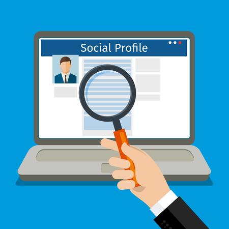 社会プロファイルを検索します。ソーシャル ネットワークとノート パソコン。フラットなデザイン、ベクトル イラスト。