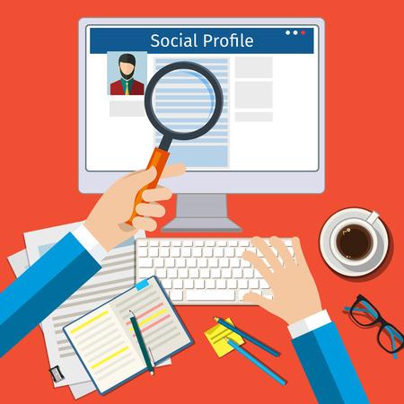 소셜 프로필을 검색 할 수 있습니다. 소셜 네트워크와 함께 화면. 평면 디자인, 벡터 일러스트 레이 션.
