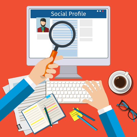 profile: Search Social Profile. Screen with social network. Flat design, vector illustration.