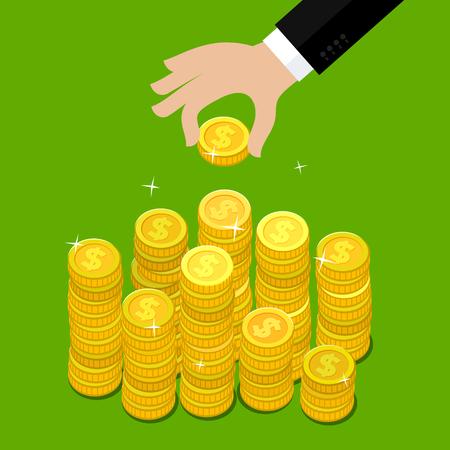 Concept de la richesse. Main mis pièce à l'argent escalier. Design plat, illustration vectorielle.