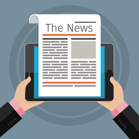 reading news: Businessman reading news at digital tablet. Flat design, vector illustration.