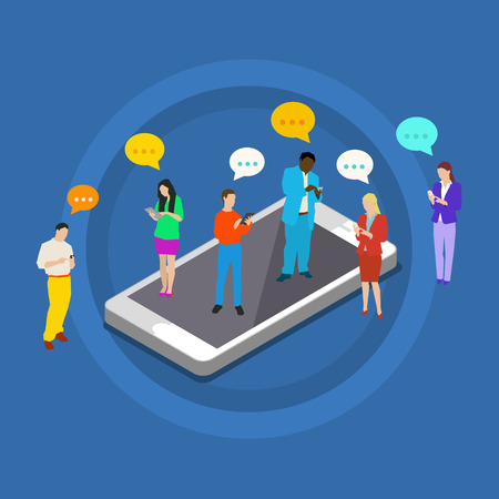 Concept of chat messaging communication. Chatting people with electronic devices. Flat design, vector illustration. Vetores