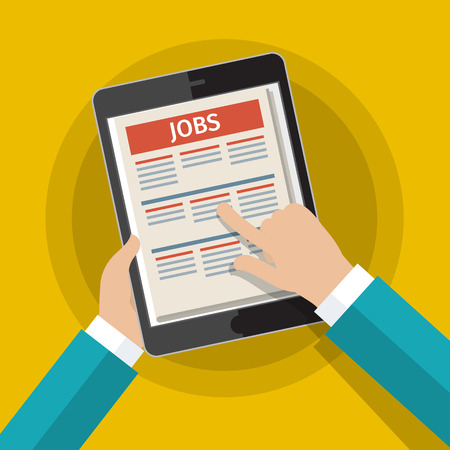 hand job: Concept of job searching. Hand holding tablet with vacancies. Flat design, vector illustration. Illustration
