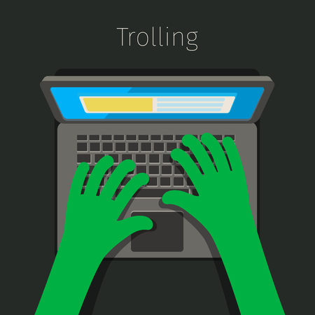 troll: Concept of trolling in internet. Internet troll using a laptop. Flat design, vector illustration. Illustration