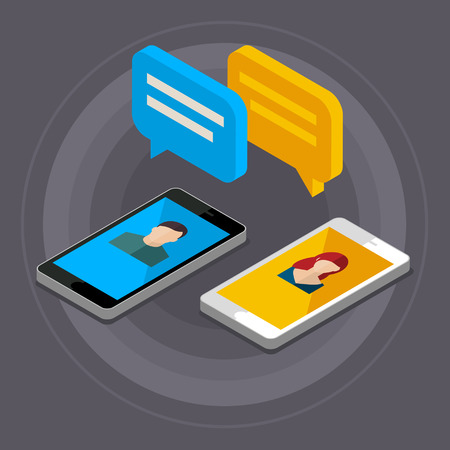 phone conversation: Concept of a mobile chat or conversation of people via mobile phones. Can be used to illustrate globalization, connection, phone calls or social media topics. Flat design, vector illustration.