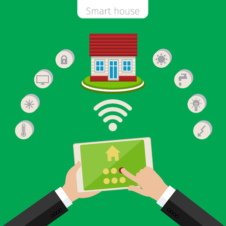 remote lock: Concept of smart house. Smart house remote control flat modern technology web infographic vector.