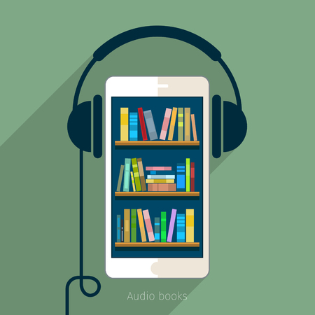 audio: Concept of audio book. Book with headphones, vector illustration, flat design
